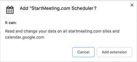 Add StartMeeting.com extension pop up