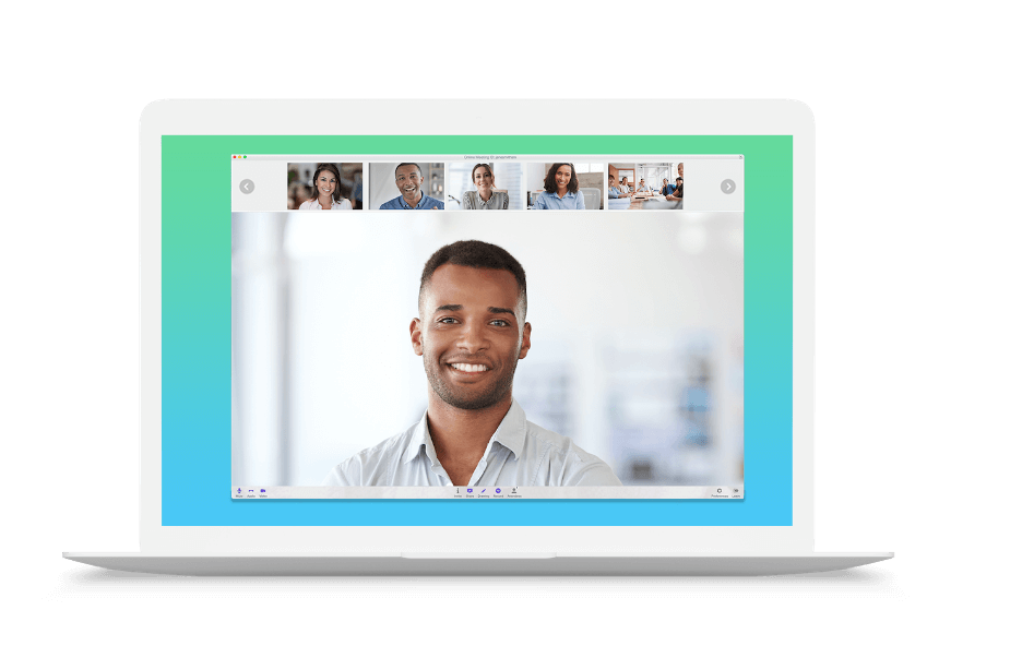 Laptop with Startmeeting video conferencing